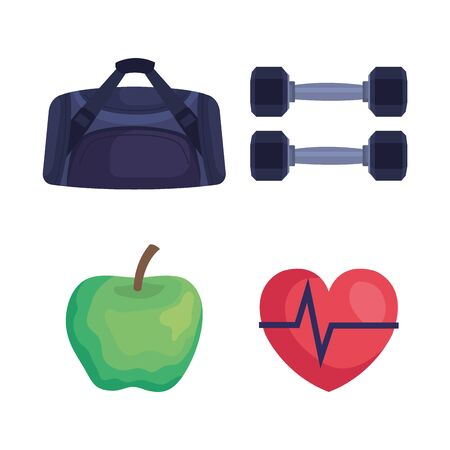 set of bag with dumbbells and apple fruit with heartbeat over white background, vector illustration Illustration