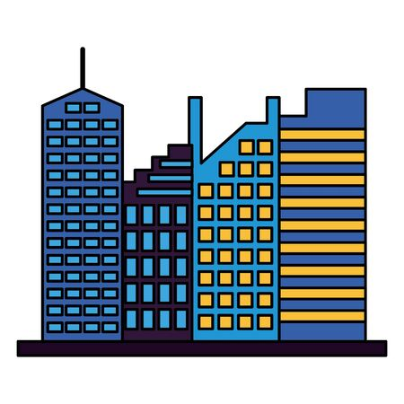skyscrapers city urban buildings exterior vector illustration