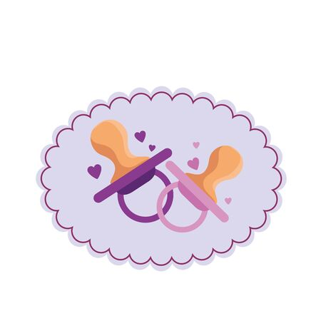 baby shower card with pacifier vector illustration design Stok Fotoğraf - 130011049