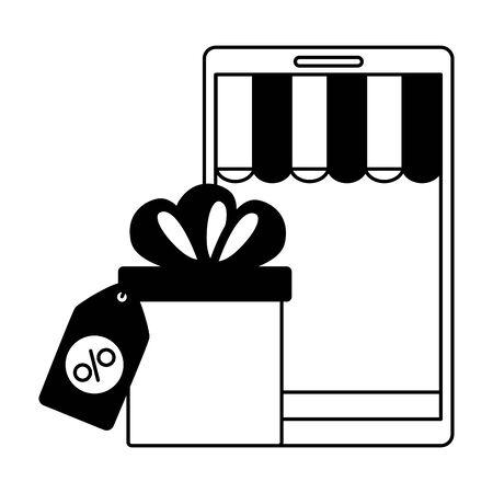 online shopping ecommerce smartphone and gift tag price vector illustration Ilustracja