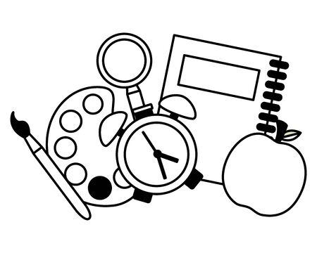 notebook clock palette paintbrush apple back to school vector illustration