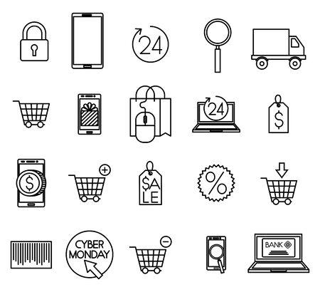 bundle of ecommerce set icons vector illustration design Ilustracja