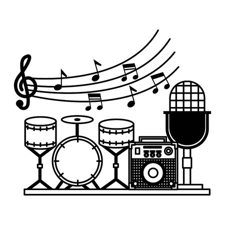 microphone drums amplifier festival music vector illustration
