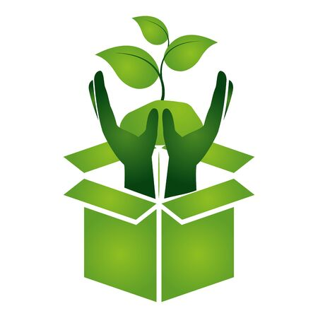 hands plant cardboard box eco friendly environment vector illustration