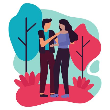 young lovers couple interracial in the landscape vector illustration design Illustration