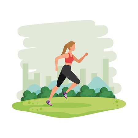 young athletic woman running in the landscape vector illustration design