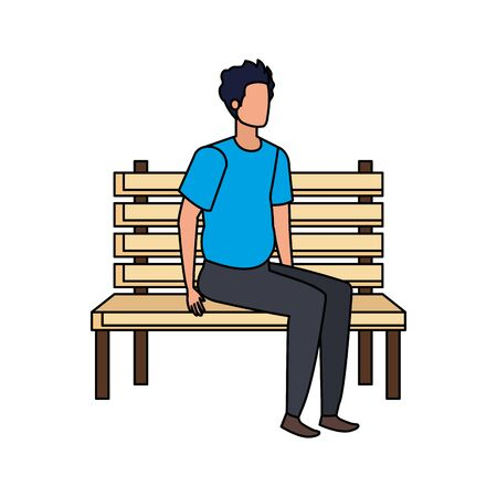 young and casual man seated in park chair character vector illustration design Foto de archivo - 130011101