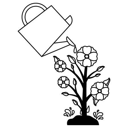 flower in pot watering can decoration gardening flat design vector illustration Illustration