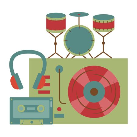 turntable vinyl drum headphone cassette instrument and equipment festival music vector illustration