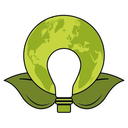 light bulb world leaves eco friendly environment vector illustration Vettoriali