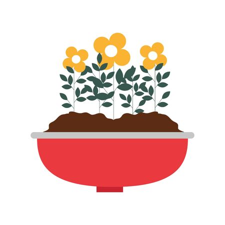 flowers houseplant in pot natural icon vector illustration design Stock fotó - 129962715