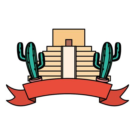 mexican pyramid with cactus frame vector illustration design
