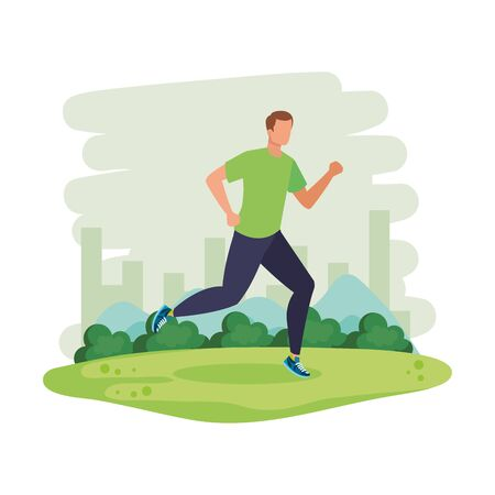 young athletic man running in the landscape vector illustration design