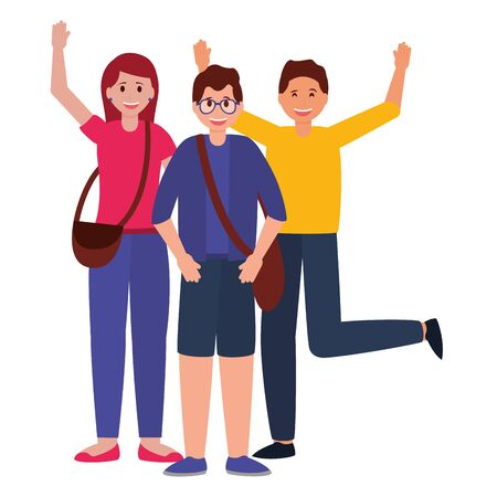 happy young group people character on white background vector illustration