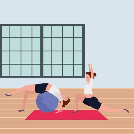 girls couple practicing pilates with ball in the gym vector illustration design