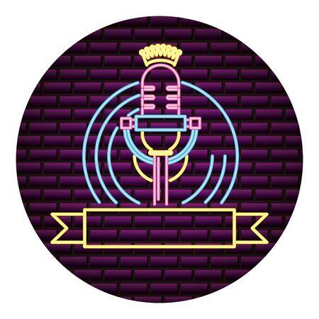 microphone and vinyl karaoke neon vector illustration