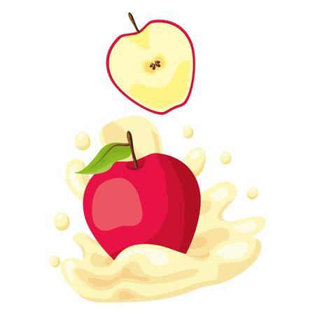 apple juice splash tropical fruits vector illustration Illustration