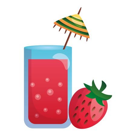 summer time holiday cocktail and strawberry vector illustration