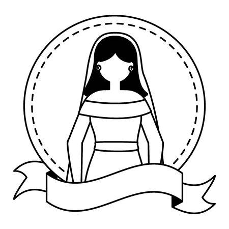 bride wedding day sticker ribbon vector illustration