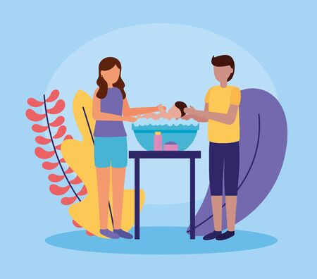 father and mother washing her baby in soapy water pregnancy and maternity vector illustration Foto de archivo - 130123929