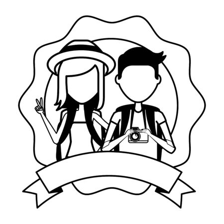 summer time holiday couple with backpack vector illustration 스톡 콘텐츠 - 130123930