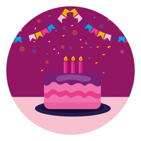 cake with candles pennants birthday celebration vector illustration