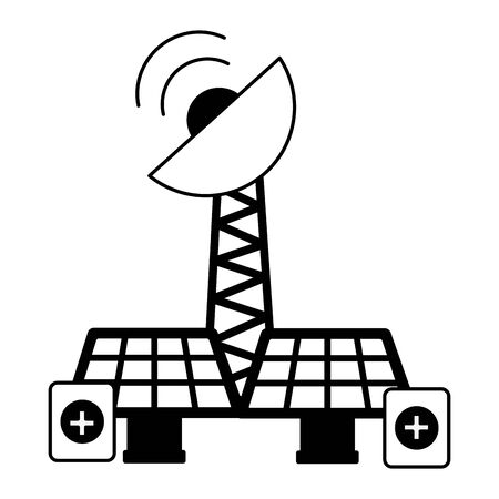 solar panels antenna battery charge energy power vector illustration