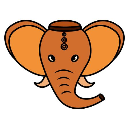 Diseño de ilustración de vector de icono de elefante indio Ganesha folk Ilustración de vector