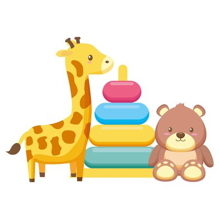 giraffe stuffed with rings and bear teddy vector illustration design Фото со стока - 130123938