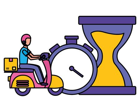 man in motorcycle clock stopwatch time fast delivery logistic vector illustration Ilustrace