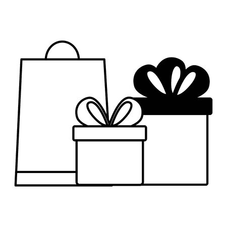 online shopping ecommerce bag and gifts vector illustration