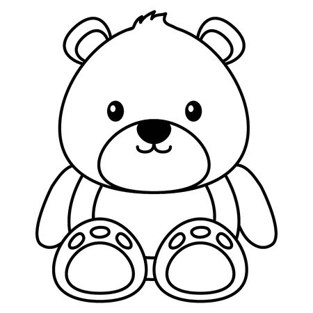 bear toy on white background vector illustration