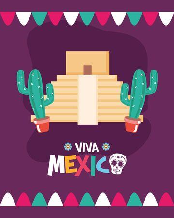 pyramid and mexican cactus celebration viva mexico vector illustration
