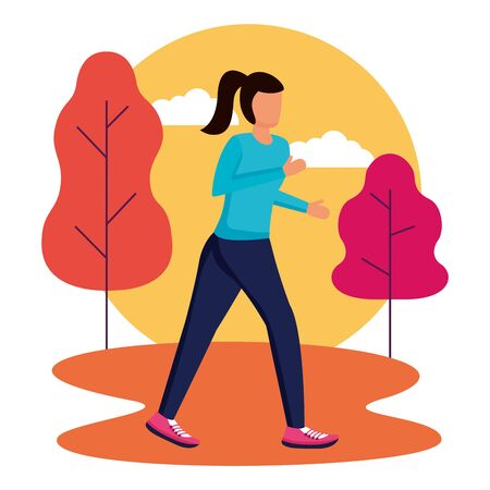 woman running activity in the outdoors vector illustration Ilustração