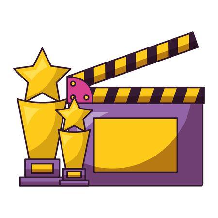 award trophy clapboard cinema movie vector illustration