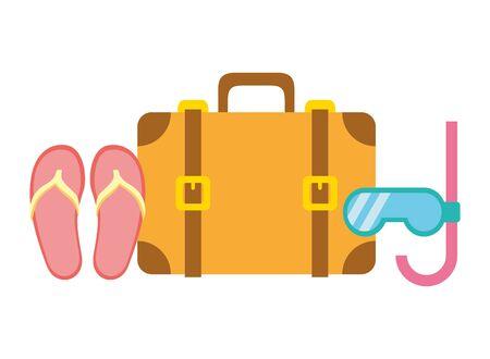 beach vacations suitcase flip flops snorkel  vector illustration