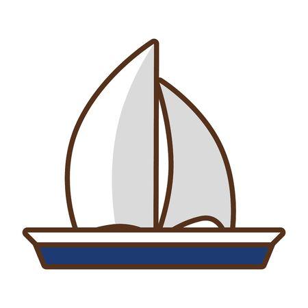 sailing boat travel on white background vector illustration