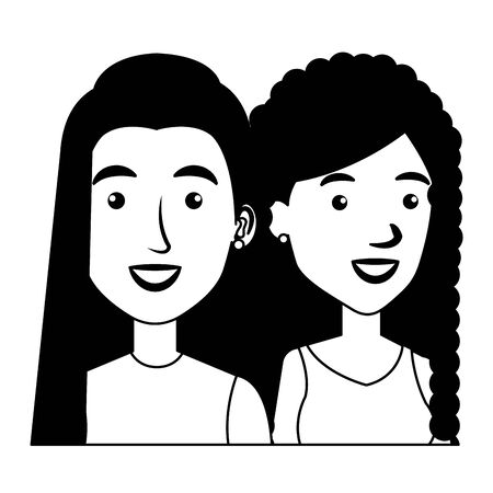 young girls friends avatars characters vector illustration design Stock Illustratie