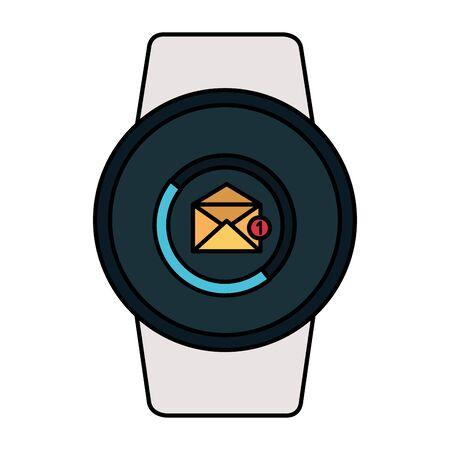 smartwatch with envelope email vector illustration design  イラスト・ベクター素材