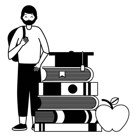 happy young man books graduation hat and apple school vector illustration
