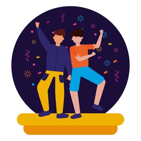 two men celebration party birthday vector illustration