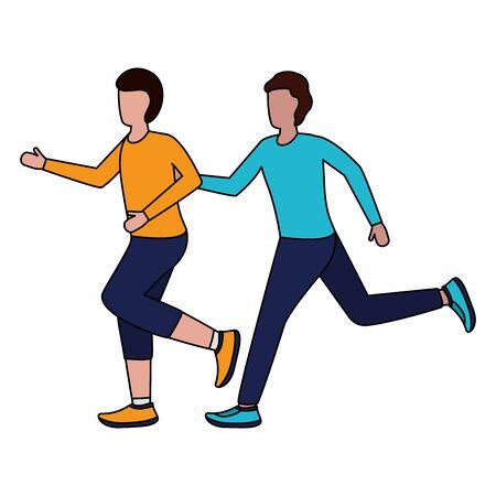 two men practicing running activity vector illustration Foto de archivo - 130127145