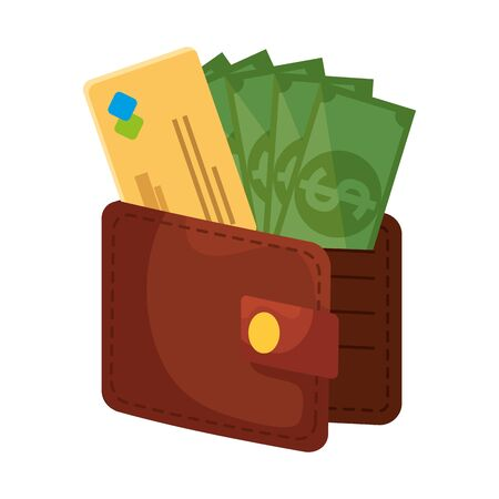 wallet money with credit card and bills dollars vector illustration design Иллюстрация