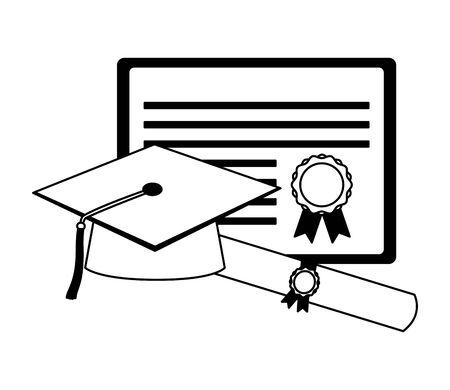 graduation hat certificate and scroll diploma vector illustration Иллюстрация