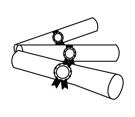 graduation school certificate rolls medals vector illustration Иллюстрация