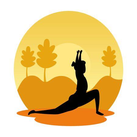 silhouette of woman practicing pilates on the landscape sunset scene vector design Иллюстрация