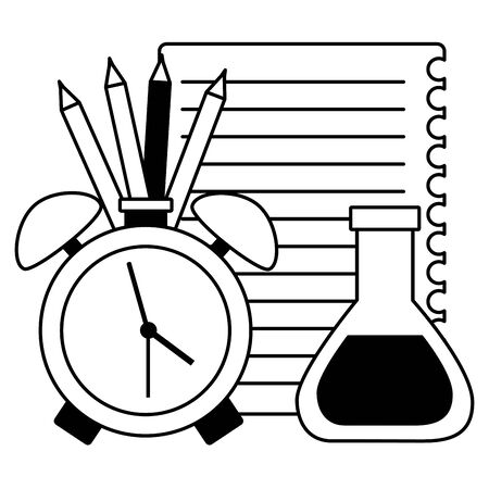 back to school alarm clock and set supplies vector illustration design Фото со стока - 130127155