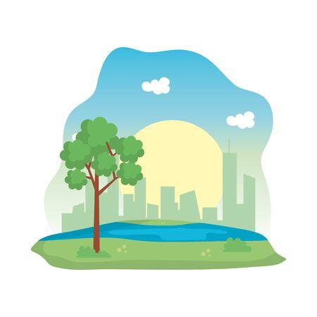 landscape park with lake scene icon vector illustration design