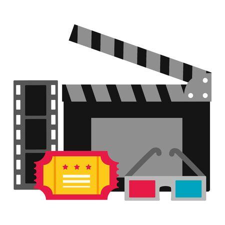 clapboard 3d glasses strip film cinema movie vector illustration