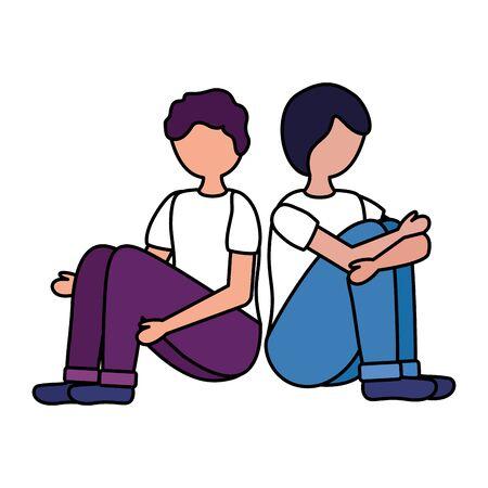 boys with mental disorder psychological depressed vector illustration